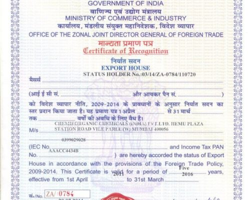 ChemieOrganic Chemicals Export Certification
